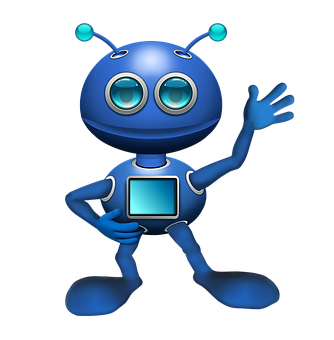 Alien, Robot, Android, Antennae, Blue